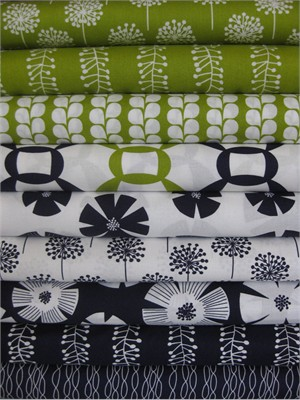 Stof, Pure, Lime/ Navy in FAT QUARTERS, 9 Total