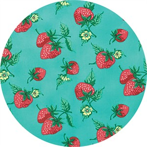 Verna Mosquera for Free Spirit, Fruta Y Flor, Strawberry Patch Aqua