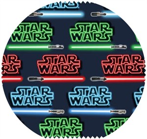 Star Wars Fabric, Star Wars II, Light Sabers Black