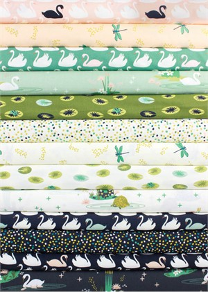 Patrick and Andrea Patton for Birch Organic Fabrics, Swan Lake in FAT QUARTERS 13 Total (PRE-CUT)
