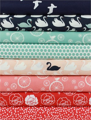 Fabricworm Custom Bundle, ORGANIC, Swan Song in FAT QUARTERS 8 Total