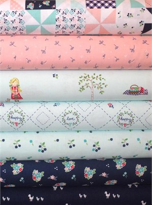 Tasha Noel for Riley Blake, Country Girls, Aqua in FAT QUARTERS 5 Total (PRE-CUT)