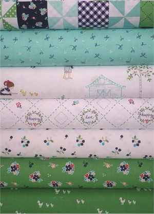 Tasha Noel for Riley Blake, Country Girls, White/Green in FAT QUARTERS 7 Total