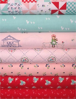 Tasha Noel for Riley Blake, Country Girls, Pink in FAT QUARTERS 7 Total