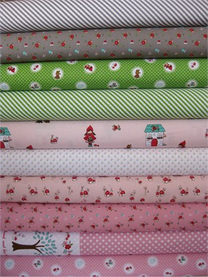 Tasha Noel, Little Red Riding Hood, Pink in FAT QUARTERS 10 Total
