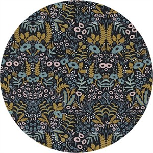 AVAILABLE FOR PREORDER, Rifle Paper Co. for Cotton and Steel, Menagerie, Tapestry Midnight Metallic