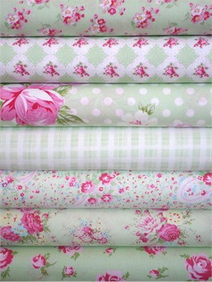 Tanya Whelan, Rosey, Green in FAT QUARTERS 6 Total (PRE-CUT)