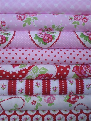 Tanya Whelan, Valentine Rose, First Crush in FAT QUARTERS 8 Total (PRE-CUT)