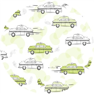 Alicia Jacobs for Ink & Arrow, City Life, Taxi Cabs Light Green