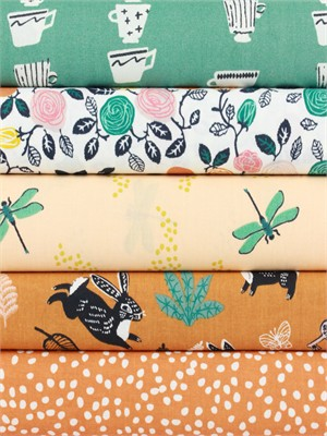 Fabricworm Custom Bundle, ORGANIC, Tea Garden 5 Total
