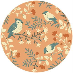 Teagan White for Birch Organic Fabrics, Acorn Trail, Birds and Branches Coral