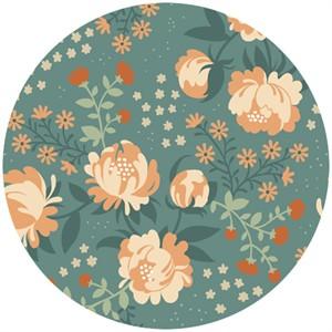 Teagan White for Birch Organic Fabrics, Acorn Trail, KNIT, Peonies Blue