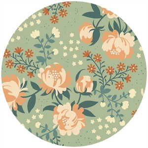 Teagan White for Birch Organic Fabrics, Acorn Trail, CANVAS, Peonies Mint