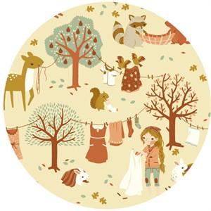 Teagan White for Birch Organic Fabrics, Acorn Trail, CANVAS, Laundry Day