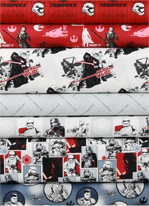 Camelot Fabrics, Star Wars: The Force Awakens,  Red in FAT QUARTERS 7 Total