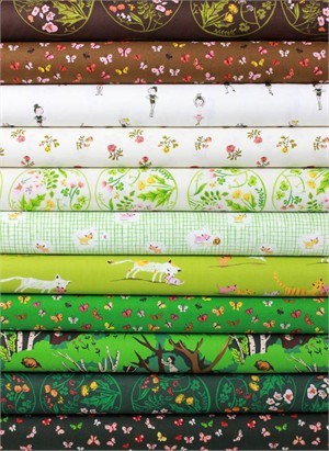 Heather Ross for Windham, Tiger Lily, Forest in FAT QUARTERS 9 Total