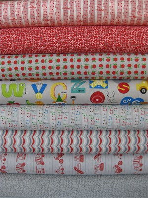 Tim and Beck, Apple Jack, Grey/Red in FAT QUARTERS 8 Total