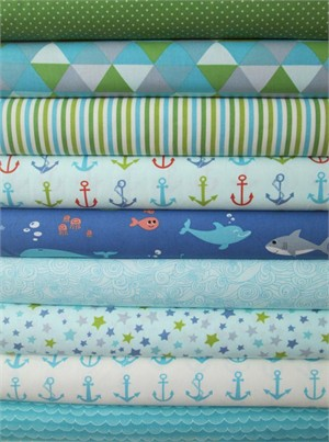 Tim and Beck, Bartholomeow's Reef, Seafoam/Glacier in FAT QUARTERS 9 Total