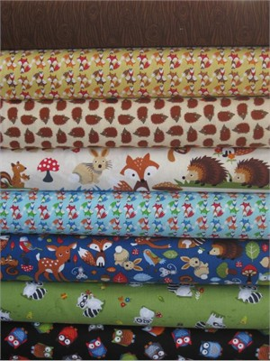 Timeless Treasures, Bright Eyed and Bushy Tailed in FAT QUARTERS, 8 Total
