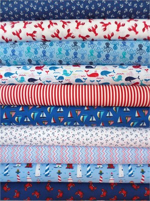Timeless Treasures, Coastal Beach in FAT QUARTERS 10 Total