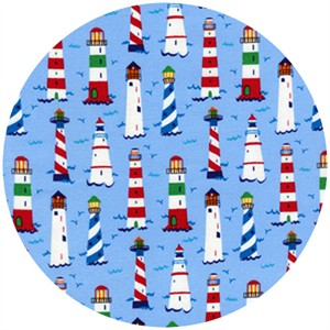 Timeless Treasures, Coastal Beach, Mini Lighthouses Blue