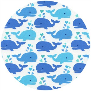 Timeless Treasures, Cute Whales White