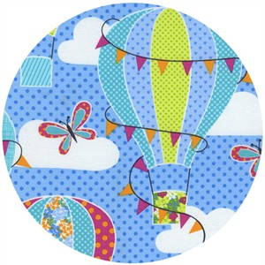 Timeless Treasures, Day In The Park, Hot Air Balloons Blue