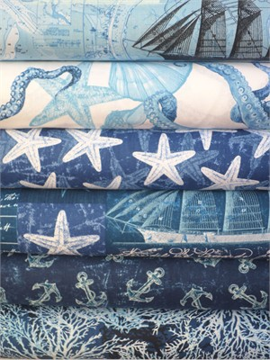 Timeless Treasures, Deep Sea in FAT QUARTERS 6 Total