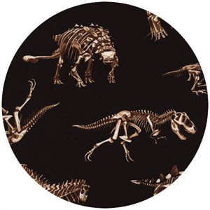 Timeless Treasures, Dinosaur Skeletons Black
