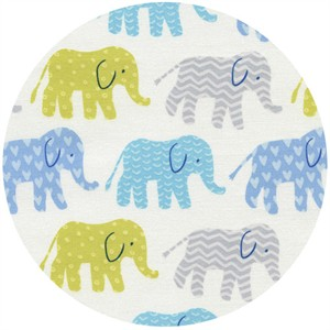 Timeless Treasures, Elephants Organic Blue