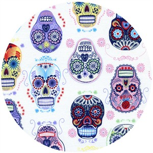 Timeless Treasures, Folk Art, Sugar Skulls White