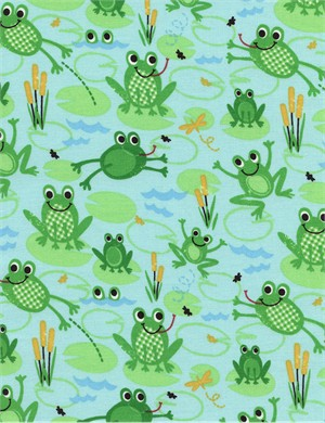 Timeless Treasures, Frogs Organic Blue