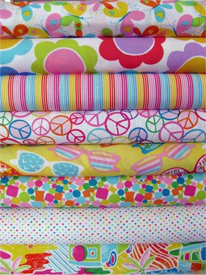 Timeless Treasures, Fun in the Sun in FAT QUARTERS, 7 Total