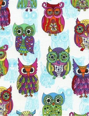 Timeless Treasures, Funky Owls White