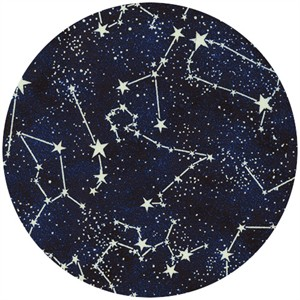 Timeless Treasures, Glow in the Dark Constellations Midnight