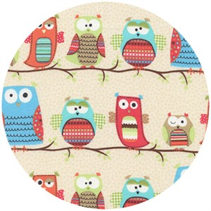 Timeless Treasures, Hootenanny Organic, Owls on Branches Cream