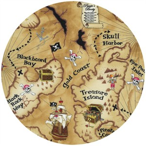 Timeless Treasures, Pirate Map Tan