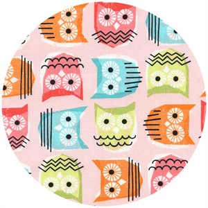 Timeless Treasures, Sketchy Owls Pink