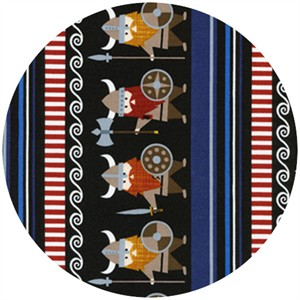 Timeless Treasures, Vikings Organic, Viking Stripe Black
