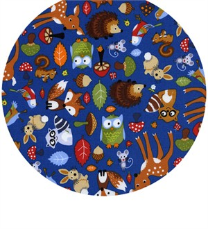 Timeless Treasures, Woodland Animals Blue
