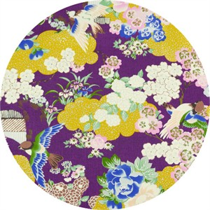 Japanese Import, Tori METALLIC, Traditional Floral Plum