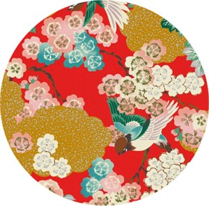 Japanese Import, Tori METALLIC, Traditional Floral Red
