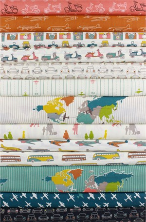 Jay-Cyn Designs for Birch Organic Fabrics, Trans-Pacific in FAT QUARTERS 13 Total