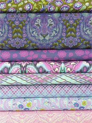 Tula Pink, Eden, Amethyst in FAT QUARTERS 6 Total
