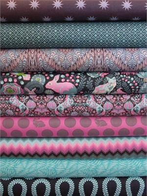 Tula Pink, Fox Field, Dusk in FAT QUARTERS 8 Total