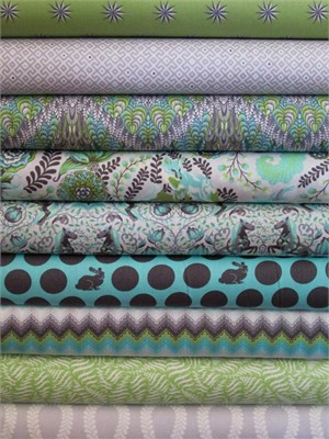 Tula Pink, Fox Field, Shade in FAT QUARTERS 9 Total