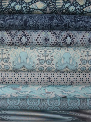 Tula Pink, Saltwater, Aqua in FAT QUARTERS, 7 Total