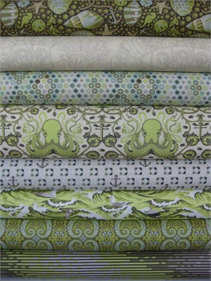 Tula Pink, Saltwater, Seaweed in FAT QUARTERS, 8 Total
