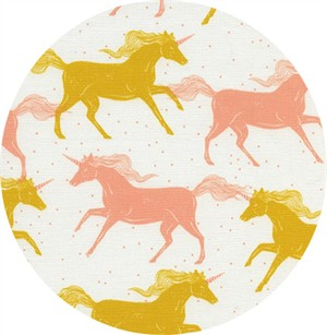 Sarah Watts for Cotton and Steel, Magic Forest, Unicorns Yellow