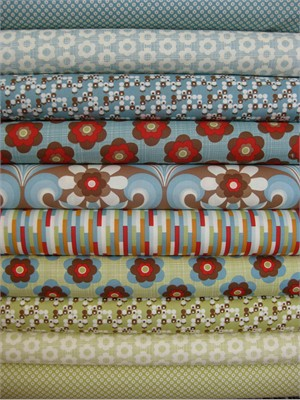 Urban Chiks, Boho, Blue/Green in FAT QUARTERS, 10 Total